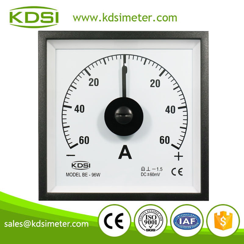 Wide angle BE-96W DC+-60mV+-60A dc analog panel marine ammeter