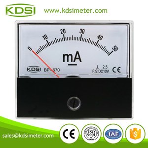 CE Approved BP-670 DC10V 50mA analog panel dc milliammeter