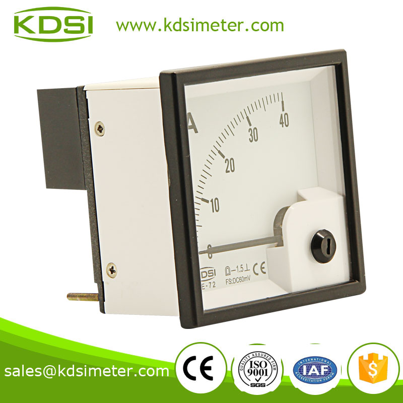 Dustproof BE-72 72*72 DC 60mV 40A display ammeter and voltmeter panel