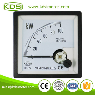 Original manufacturer high Quality BE-72 3P3W 100kW 380V 100/5A analog panel kW meter